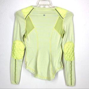 Lululemon neon yellow stripe long sleeve sz 4